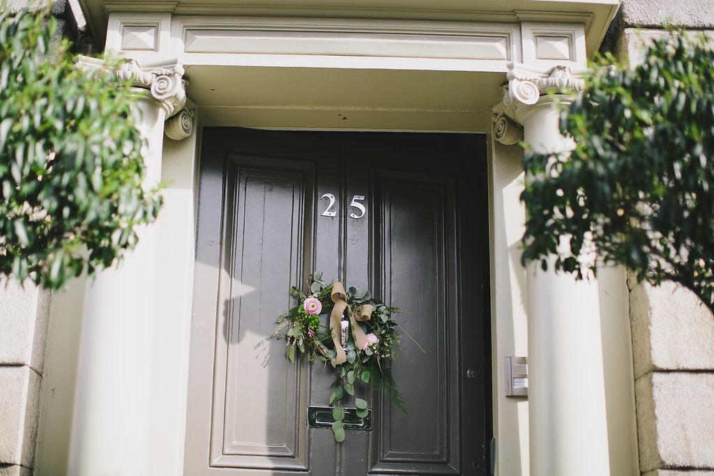 No. 25 Fitzwilliam Place | Front Door and Floral Wreath | Corporate Events