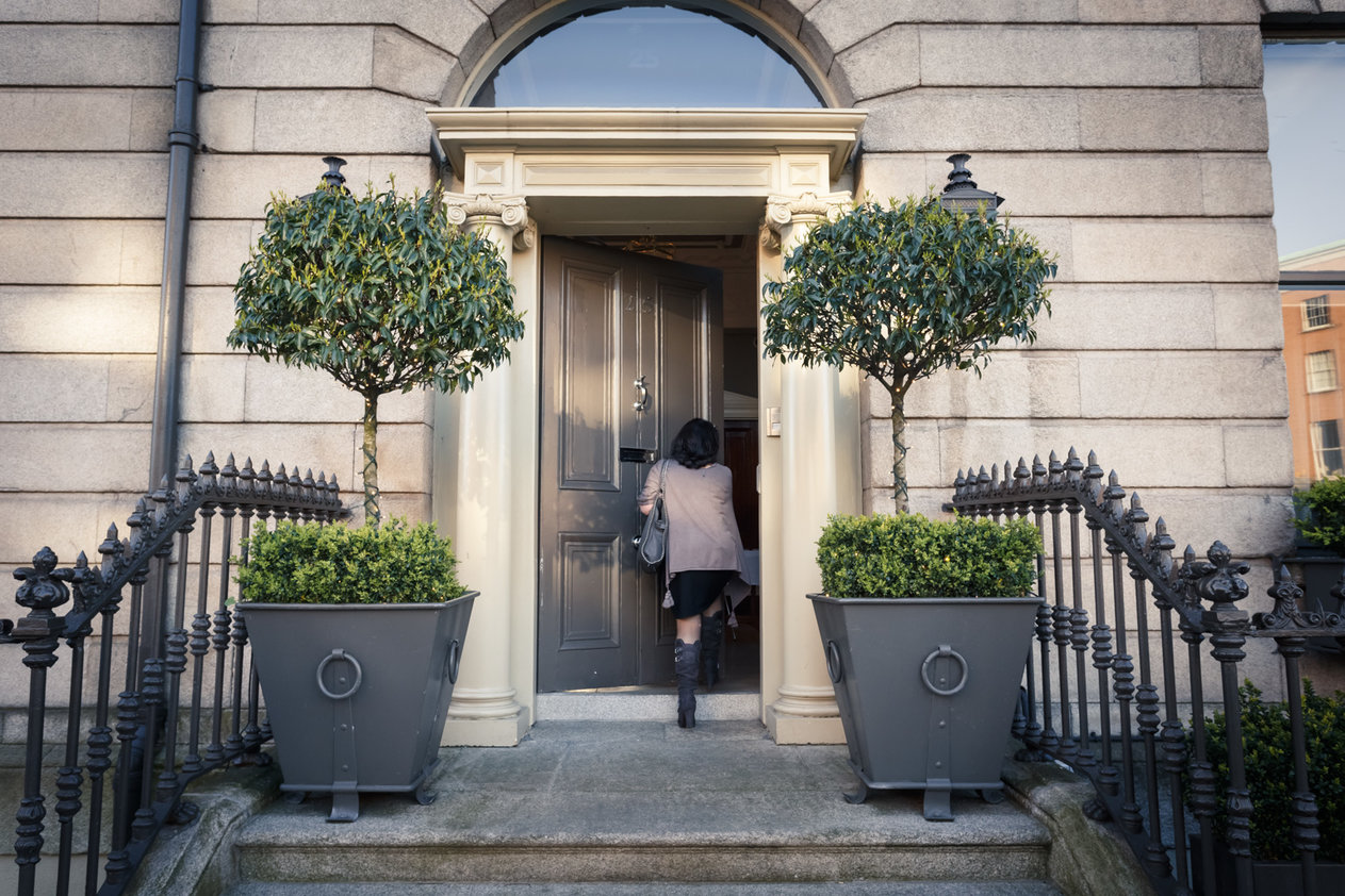 No. 25 Fitzwilliam Place | Woman Arriving at Front Door Entrance