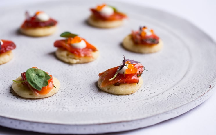 corporate dinner, private dining, No 25 Fitzwilliam place, canapes, blinis